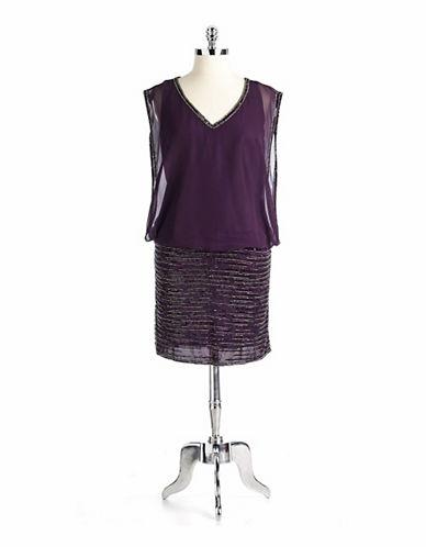J KARAPlus-Size Beaded V-Neck Dress