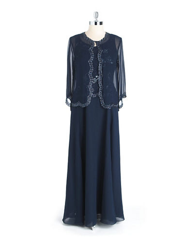 Plus Plus-Size Two-Piece Beaded Gown $259.00 AT vintagedancer.com