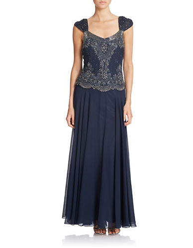 Beaded Cap-Sleeve Gown $239.00 AT vintagedancer.com