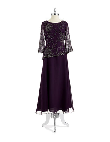 Petite Beaded Mock Top Gown $156.75 AT vintagedancer.com