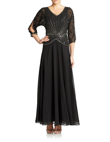 Hand Beaded Sequined Gown $209.25 AT vintagedancer.com