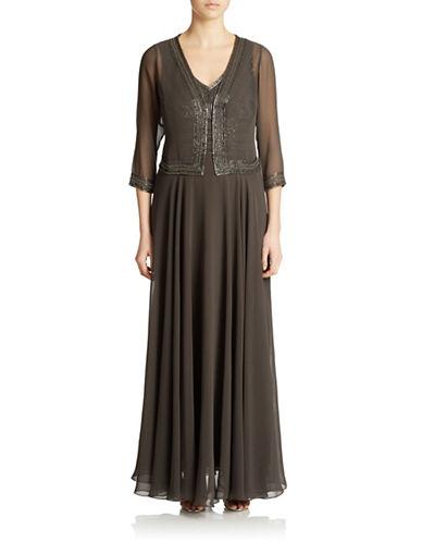 Plus Beaded V Neck Gown And Jacket $207.20 AT vintagedancer.com