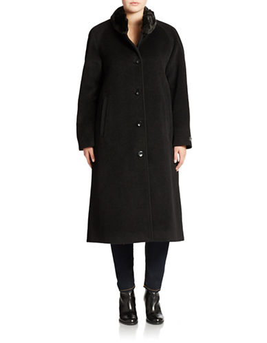 Jones New York Plus Plus Faux Fur Collared Maxi Coat