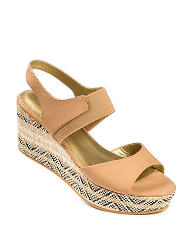 ME TOO Leather Open-Toe Platform Wedge Sandals