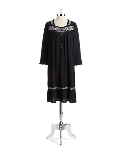 EILEEN WESTEmbroidered Long Sleeved Nightgown