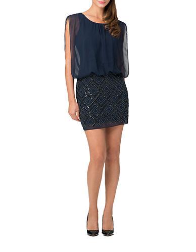 Shop Aidan Mattox online and buy Aidan Mattox Beaded Chiffon Blouson Dress dress online