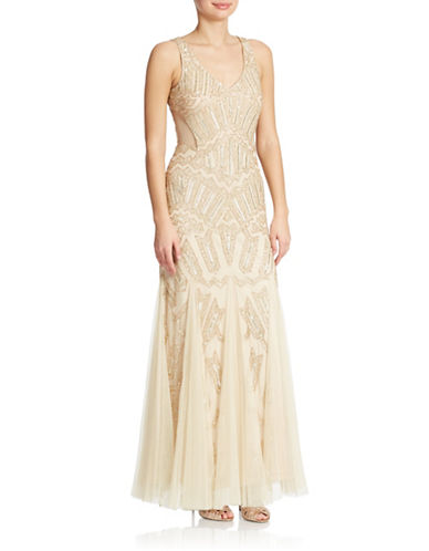 Petite Beaded Illusion Gown $239.25 AT vintagedancer.com