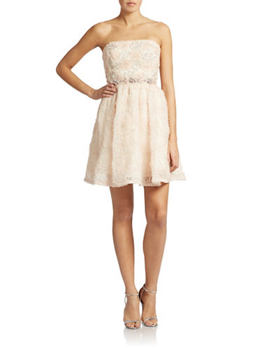 ADRIANNA PAPELLEmbellished Rosette Fit and Flare Dress