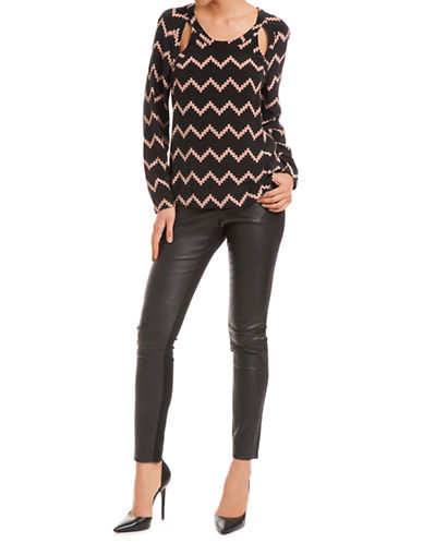 TRACY REESE Zigzag Printed Silk Blouse