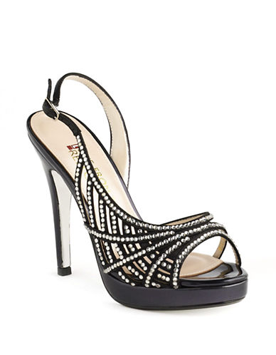 E!LIVE FROM THE RED CARPET Embellished Leather Evening Sandals