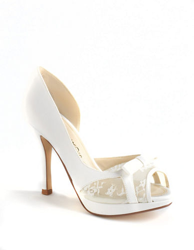 Hollie Satin ; Lace D'Orsay Peep-Toe Pumps