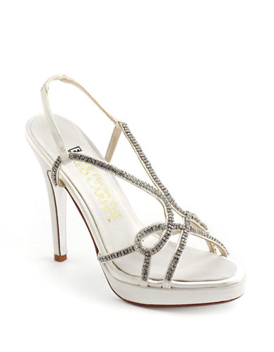 E!Live From The Red Carpet Daphne Satin and Rhinestone Platform Sandals