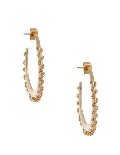 RACHEL ZOE14Kt Gold Stitched Oval Hoop Earrings