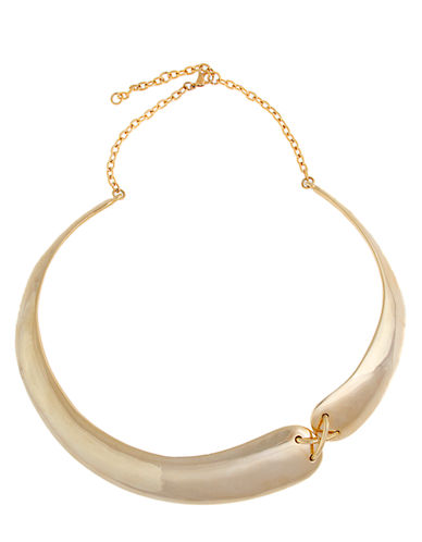 RACHEL ZOE Offset Gold Tone X Collar Necklace