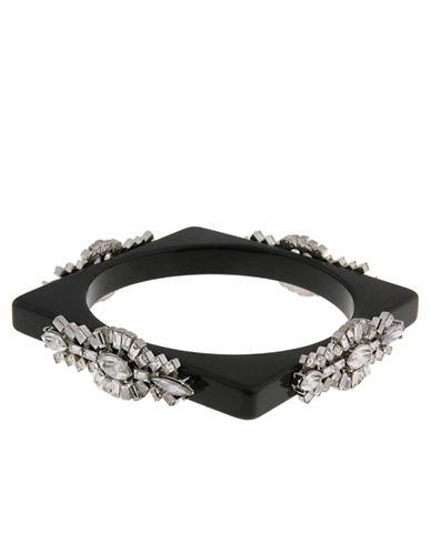 ERICKSON BEAMON ROCKSHeart of Glass Black Glitz Square Bangle Bracelet