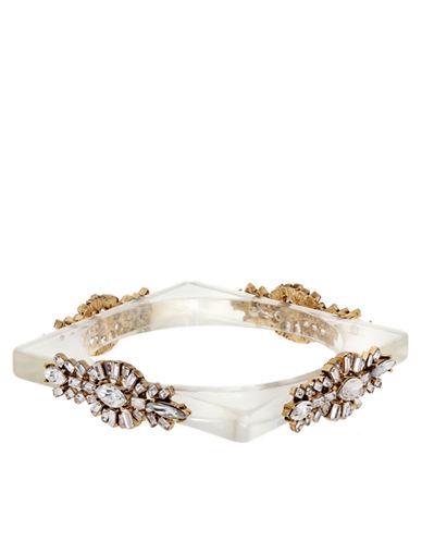 ERICKSON BEAMON ROCKSHeart of Glass 24K Gold and Clear Glitz Square Bangle Bracelet