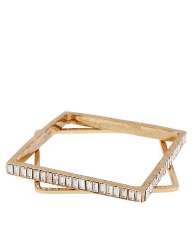 ERICKSON BEAMON ROCKSHeart of Glass 24K Gold and Clear Stone Bangle Bracelet Set - 2