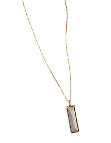 RACHEL ZOEFacets 14K Gold and Silver-Tone Rectangle Pendant Necklace
