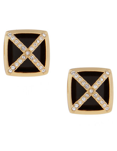 RACHEL ZOE 14K Gold and Onyx Facets Square Button Earrings