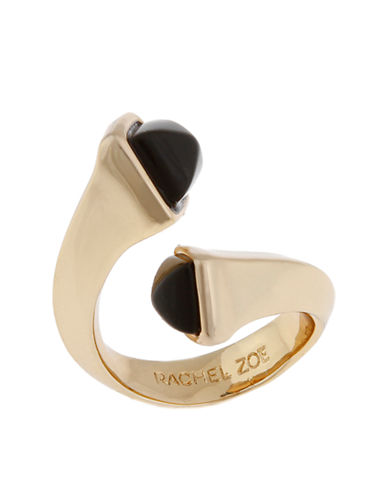 RACHEL ZOE 14K Gold Facets Bypass Ring with Onyx