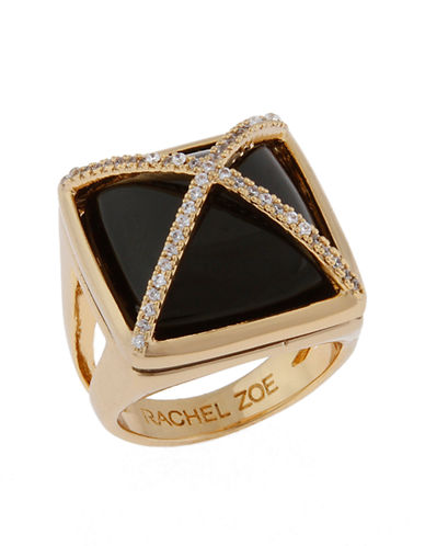 RACHEL ZOE 14Kt Gold and Onyx Facets Pyramid Ring