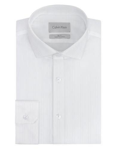 CALVIN KLEINSlim Fit Convertible Cuff Platinum Stripe Dress Shirt
