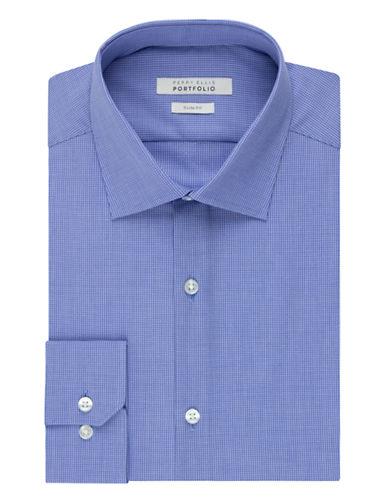 PERRY ELLISWrinkle Free Mini Grid Dress Shirt