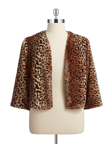 Marina Plus Faux Fur Leopard Print Jacket