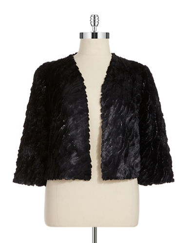 Marina Plus Sequined Faux Fur Bolero Jacket