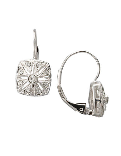 NADRISilvertone Square Deco Crystal Drop Earrings