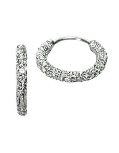 NADRISilvertone Small Crystal Pavé Hoop Earrings