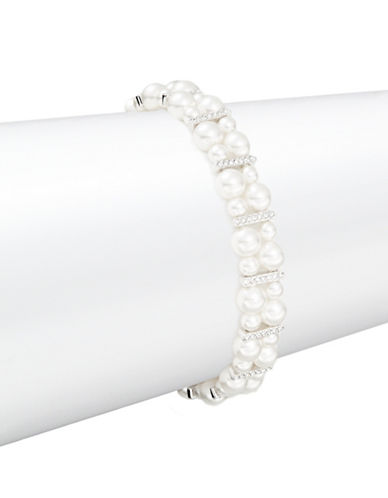 NADRI Double Strand Faux Pearl and Crystal Accented Bracelet