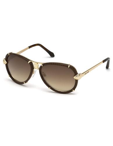 ROBERTO CAVALLILeather Aviator Sunglasses