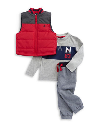 Nautica Baby Boys Puffy Vest, Pullover and Sweatpants Set