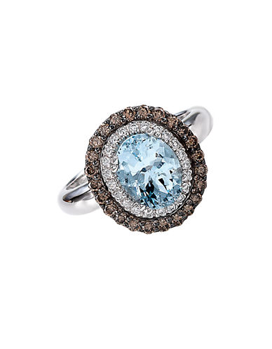 LEVIAN Sea Blue Aquamarine and Chocolate Diamond Ring in 14 Kt. Vanilla Gold 0.53 ct. t.w.