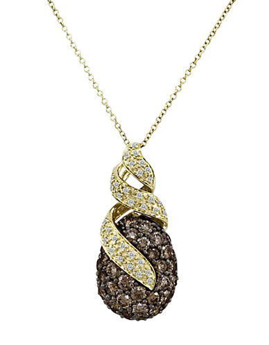 LEVIAN 14 Kt. Honey Gold Chocolate and Vanilla Diamond Pendant Necklace