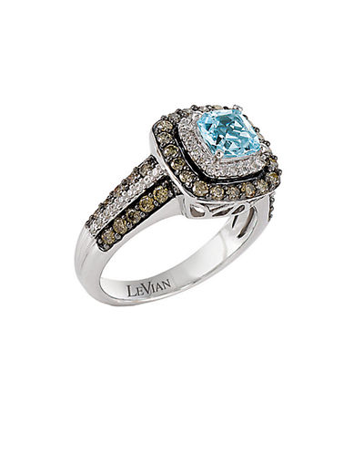 LEVIAN Sea Blue Aquamarine and Chocolate Diamond Ring in 14 Kt. Vanilla Gold .76 ct. tw