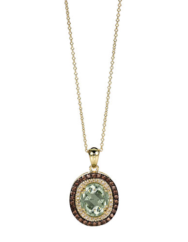 LEVIAN14Kt. Yellow Gold and Green Amethyst Pendant Necklace with Brown Diamonds
