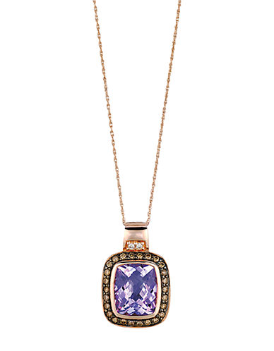 LEVIAN14Kt. Rose Gold and Pink Amethyst Pendant Necklace with Brown Diamonds