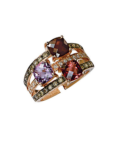 LEVIAN 14 Kt Strawberry Gold Rhodolite Pink Tourmaline Amethyst and Diamond Ring