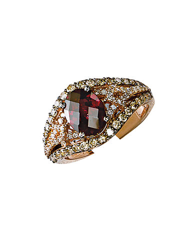 LEVIAN 14 Kt Strawberry Gold Rhodolite and Diamond Ring