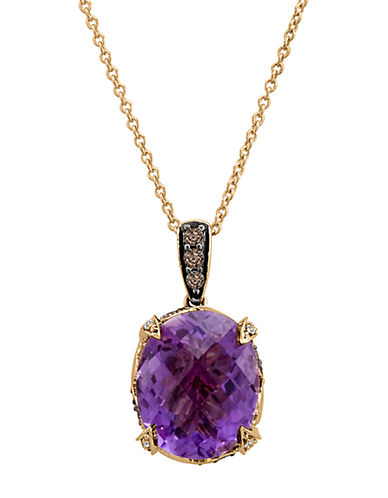 LEVIAN14Kt. Rose Gold Amethyst and Brown Diamond Pendant Necklace