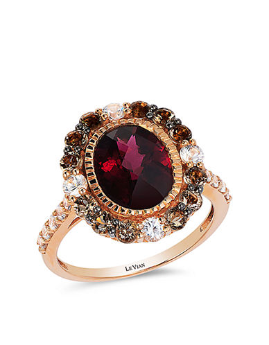 LEVIAN 14Kt Rose Gold Rhodolite Quartz and Sapphire Ring