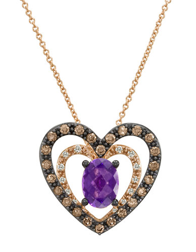 LEVIAN14Kt. Rose Gold and Amethyst Heart Pendant Necklace with Diamonds