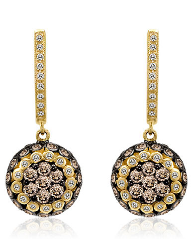 LEVIAN 14Kt Yellow Gold and White Diamond Drop Earrings