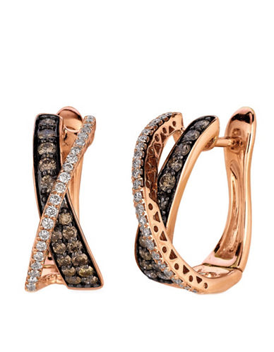 LEVIAN 0.98 ct tw Chocolate Diamond Hoop Earrings in 14 Kt Strawberry Gold