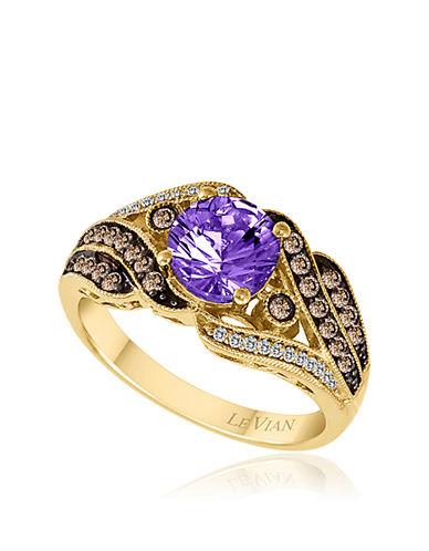 LEVIAN14Kt. Yellow Gold Amethyst Diamond and Brown Diamond Ring