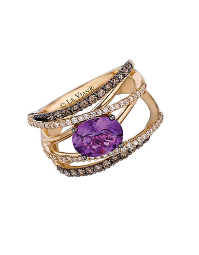 LEVIAN 14Kt Yellow Gold Amethyst and Diamond Hard Candy Ring