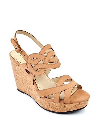 Adrienne Vittadini Camber Leather Platform Wedge Sandals
