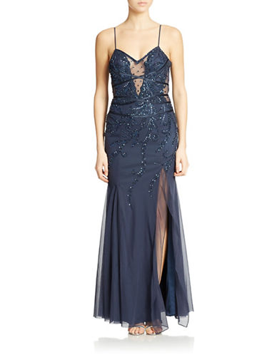 Shop Sean Collections online and buy Sean Collections Sequined Criss-Cross Back Gown dress online